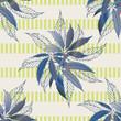 Marijuana leaves seamless vector pattern background. Hemp foliage on striped backdrop. Vintage line art botanical cannabis design. Elegant all over print for wellness, health, self care, home concept