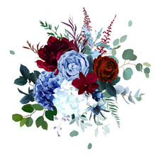 Royal Blue, Navy Garden Rose, White Hydrangea, Burgundy Red Peony Flowers