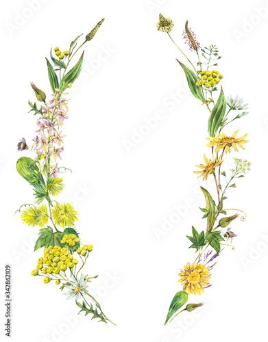 Leinwandbilder - Vintage watercolor summer yellow meadow wildflowers wreath.