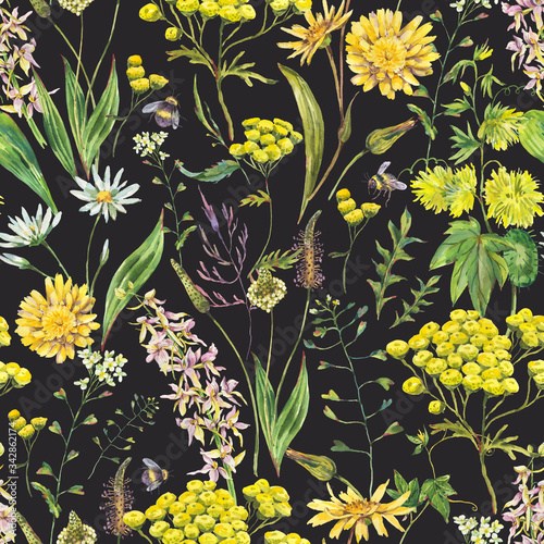 Leinwandbilder - Vintage watercolor summer yellow meadow wildflowers seamless pattern.