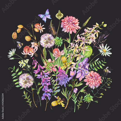 Leinwandbilder - Vintage watercolor summer purple meadow wildflowers greeting card