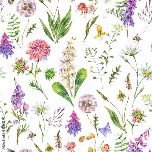 Leinwandbilder - Vintage watercolor summer purple meadow wildflowers seamless pattern.