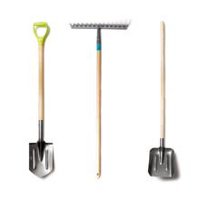 Set Of Garden Tolls Isolated. Spade Shovel, Rake And Shovel With Wood Handle On White Background