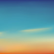 Blurred background beautiful natural sunrise or sunset, violet-blue and yellow-orange color, vector illustration. Great for a poster, web pages, advertising,