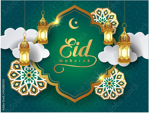 Photo eid mubarak vector card with 3d golden arabic lantern, crescent, white clouds and flowers