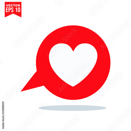 bubble talk for heart love icon symbol Flat vector illustration for graphic and web design Fototapet