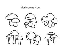 Mushrooms Icon Symbol Flat Vec...