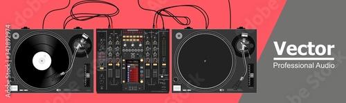 Realistic vector set of vinyl dj equipment Canvas Print