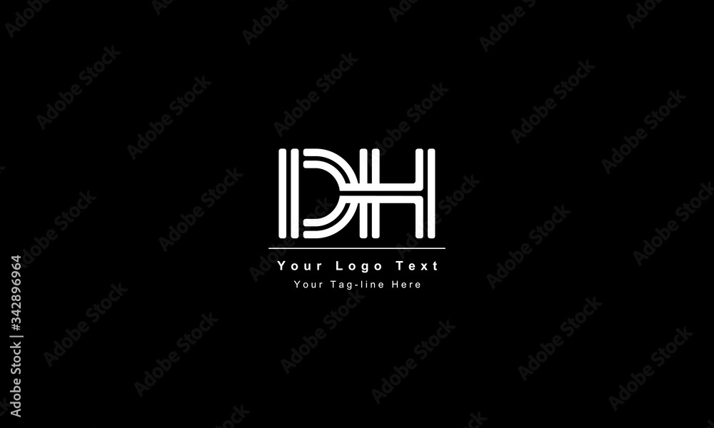 Fototapeta Premium Initial Letter DH logo design. Trendy awesome artistic black and white color. HD DH initial based Alphabet icon logo