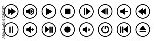 Fototapeta Collection of multimedia symbols and audio, music speaker volume icons