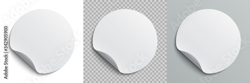 Obraz Set circle adhesive symbols. White tags, paper round stickers with peeling corner and shadow, isolated rounded plastic mockup,  realistic set round paper adhesive sticker mockup with curved corner - fototapety do salonu