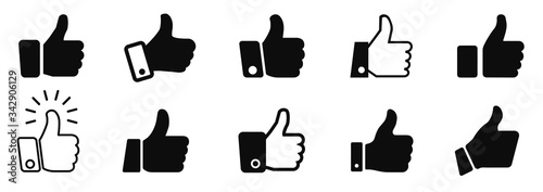 Obraz Set thumb up icon, i like it, Yes, good sign – stock vector - fototapety do salonu