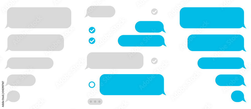 Fototapeta Set message icons, dialogue. Social network chatting window – vector
