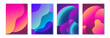 Social media stories design set, abstract trendy fluid wavy neon vertical backgrounds. Cyan, blue, pink, mint, orange, violet colors with gradients and halftones. Vector illustration, Eps10.