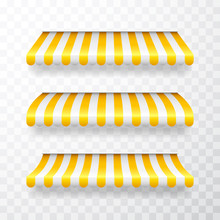 Realistic Striped Shop Sunshad...
