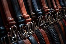 Full Frame Shot Of Belts In Store