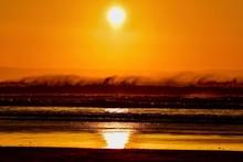 Sunset Over The Windy Sea Spra...