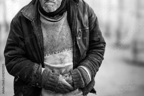 Fototapeta homeless man sleeping on the street