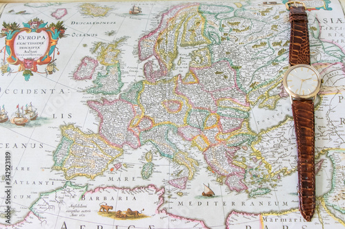 Mapa antiguo del mudno Canvas Print