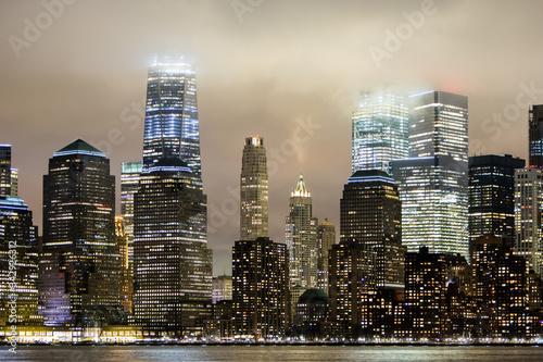 Fototapeta Fog rolling over New York City skyline