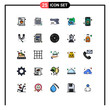 Stock Vector Icon Pack of 25 Line Signs and Symbols for speech, communication, gun, chat, weapon