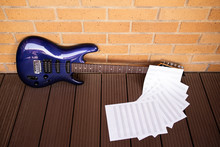 Electric Blue Guitar With Pent...