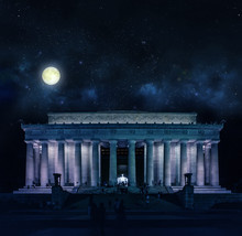 Lincoln Memorial Against Star Field At Night