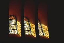 Low Angle View Of Stained Glass Window In Church