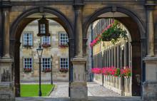 University Campus Seen Through Archway