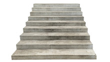Wide Concrete Staircase. Isolated On White Background