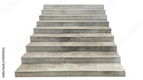 Fotografia wide concrete staircase. isolated on white background