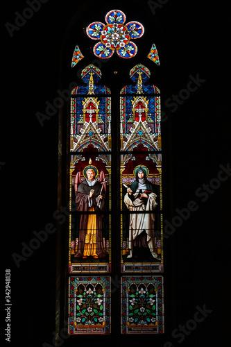 Valokuvatapetti Stained glass window of St