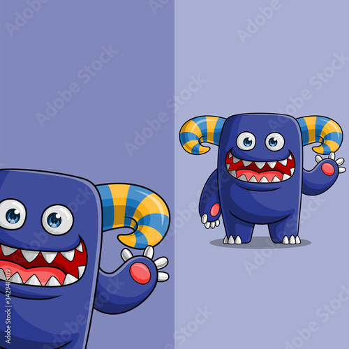 Fototapety, obrazy: Cute blue monster character waving, with different display angle position, Hand drawn