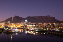 View Of Table Mountain At Dawn From Waterfront Of Cape Town