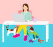 Work from Home Mom Concept - working from home office mother professional for video call with distracting home life below - quarantine Mother's Day 2020