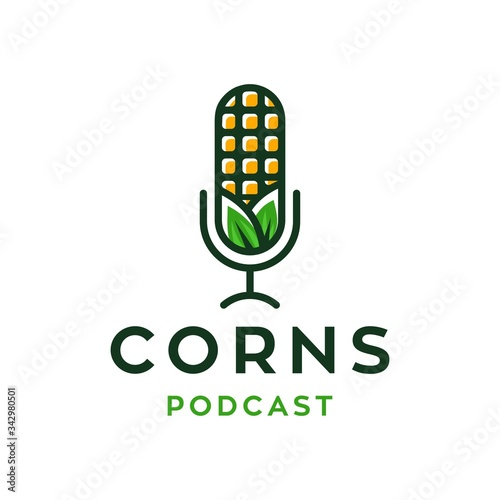 Fotomural podcast talk show logo with mic and corn, colorful natural crops corn plant podc