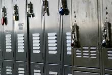 Full Frame Shot Of Metallic Lockers With Padlocks