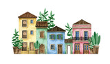 Watercolor hand-drawn Portugal street with rural houses. Cute suburban old European houses. Brick walls, tile roof, wooden doors, arch. Colorful cozy rural home, plants in pots - 342986573