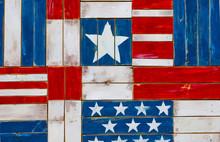 Full Frame Shot Of Wooden Planks With American Flag