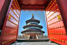 Traditional Red Entrance Gate And The Temple Of Heaven In Beijing - China