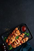 Grilled Chicken Kebab With Veg...