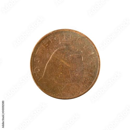 Obraz na plátně 100 austrian krone coin (1924) reverse isolated on white background