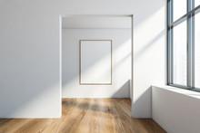 Empty White Room Interior With...