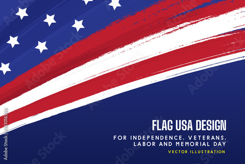 flag USA background design for independence, veterans, labor, memorial day background. vector illustration