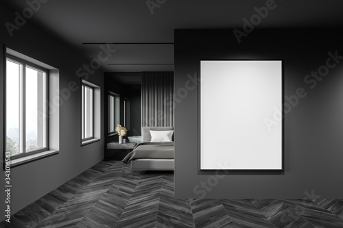 Fototapeta Gray bedroom interior with vertical poster obraz