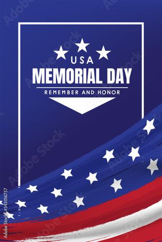 Obraz flag USA background design for memorial day background. vector illustration - fototapety do salonu