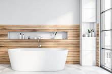 White And Wooden Bathroom With...