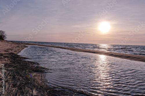 Sunset on lake Ladoga Fototapeta