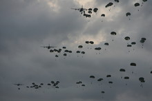 Low Angle View Of Paratroopers...