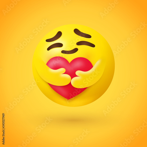 Care emoji - yellow face emoticon with closed eyes hugging a red heart with both hands showing care, support, and presence